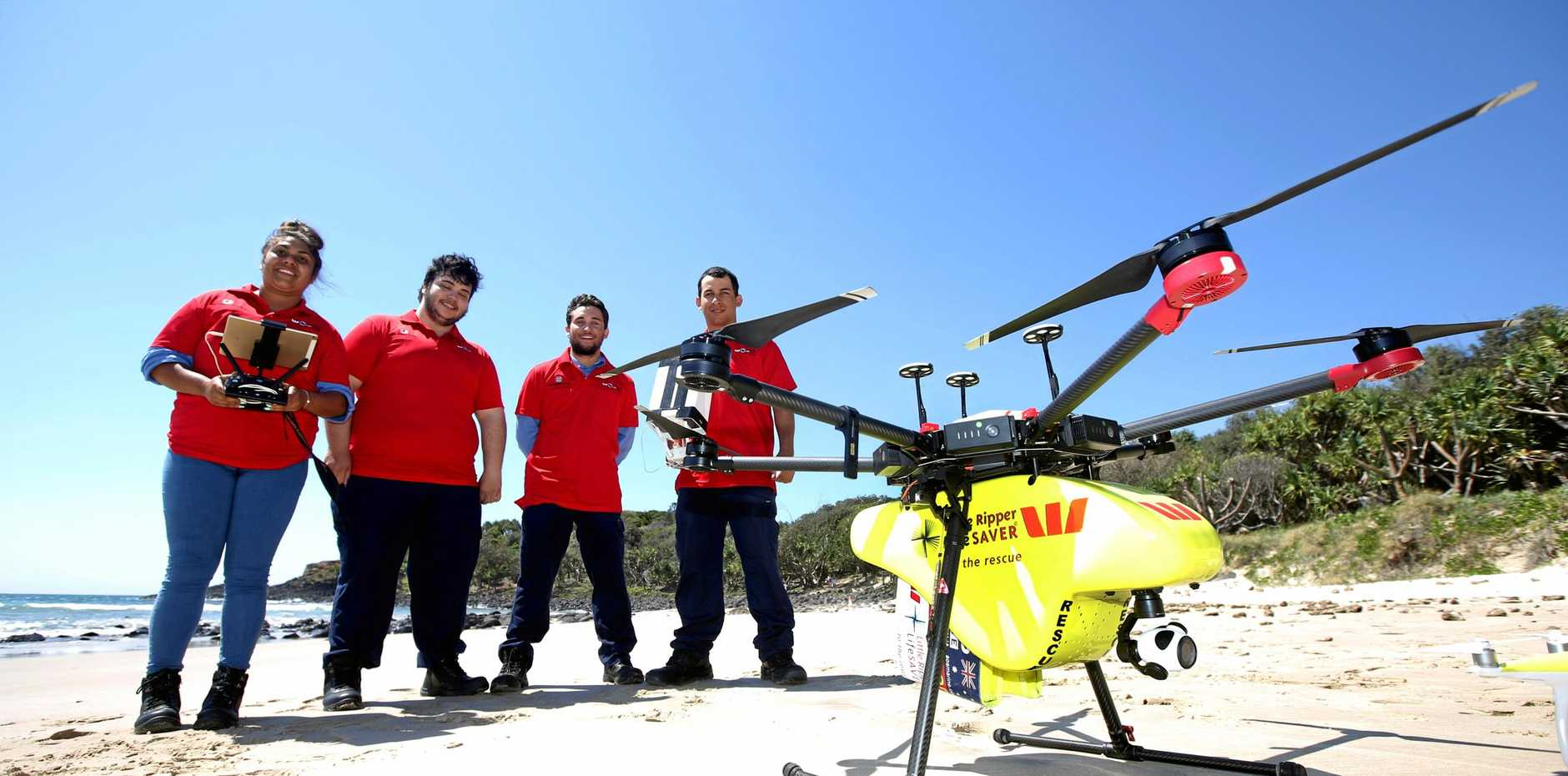 SURVEILLANCE CREW: Kaeeann Phillips, Jarrod Mye, Chase Coghill and Dylan Finn are learning how to operate shark surveillance drone technology.