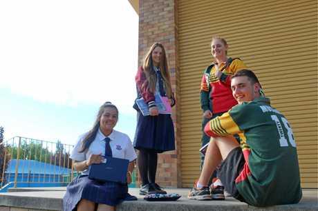 SCHOOL'S OUT: (back) Jaimee Beecham, Natasha Petroccitto (front) Veronica Johnstone and Josh Musumeci.