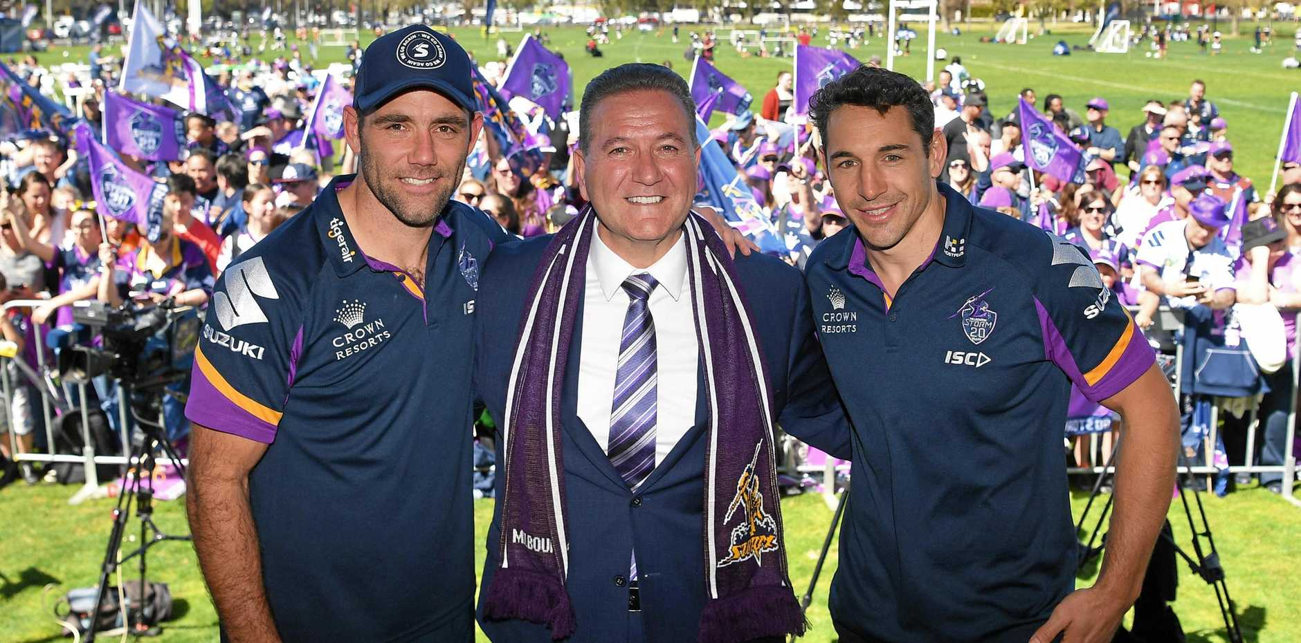 Cameron Smith, Victorian Minister for Sport John Eren and Billy Slater at the Melbourne Storm Fan Day following the Storm's grand final loss to the Roosters. Picture: James Ross/AAP