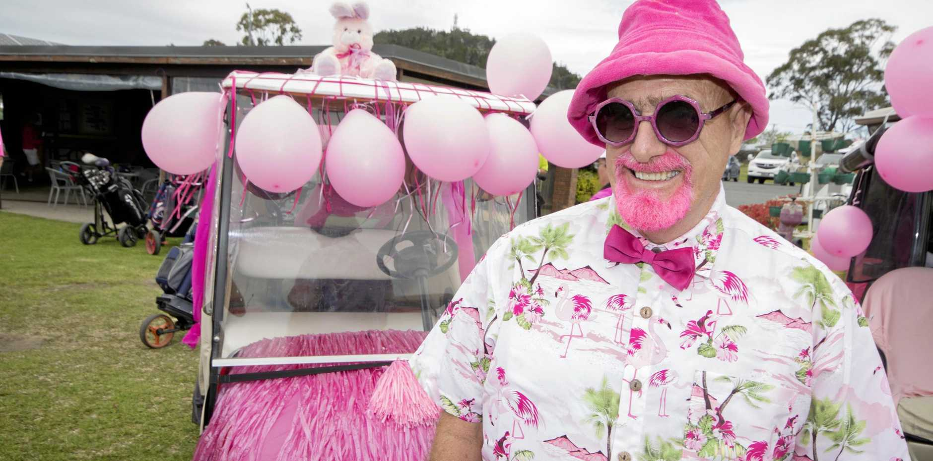 DOLLED UP: Eric McLellan with his decorated buggy at the Heritage Bank Stanthorpe Charity Golf Day last year.