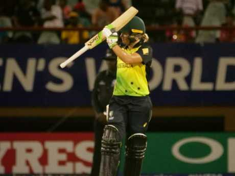 Alyssa Healy celebrates her third half century of the tournament.