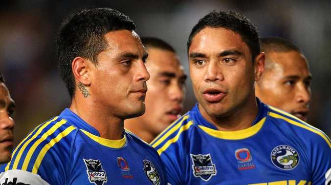 Reni Maitua and Willie Tonga during their time at the Eels in 2012. Picture: Getty Images