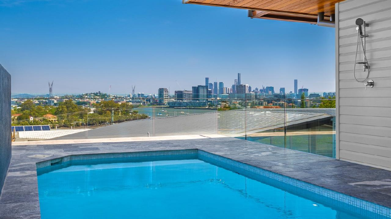 The pool at the property at 41 Dickson Tce, Hamilton, which has sold for $5.25m.
