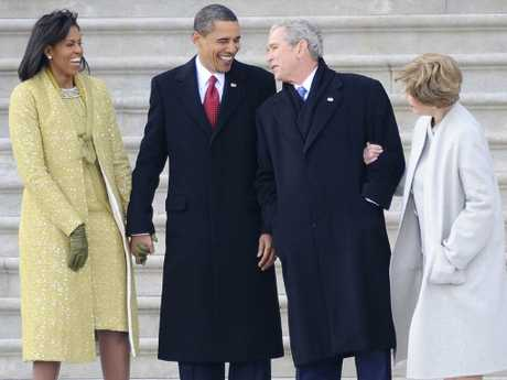 Michelle Obama, former president Obama, former president Bush and former first lady Laura Bush. Melania Trump has rebuffed Mrs Obama's gestures of friendship. Picture: AP Photo