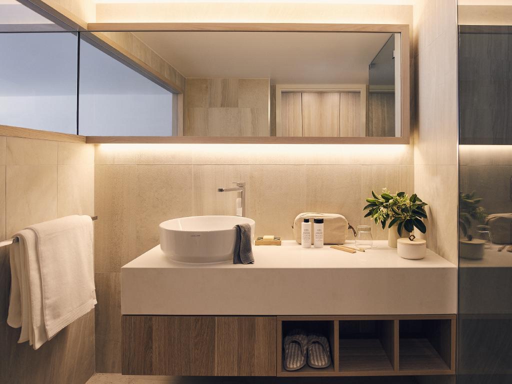 A bathroom in the newly renovated Daydream Island
