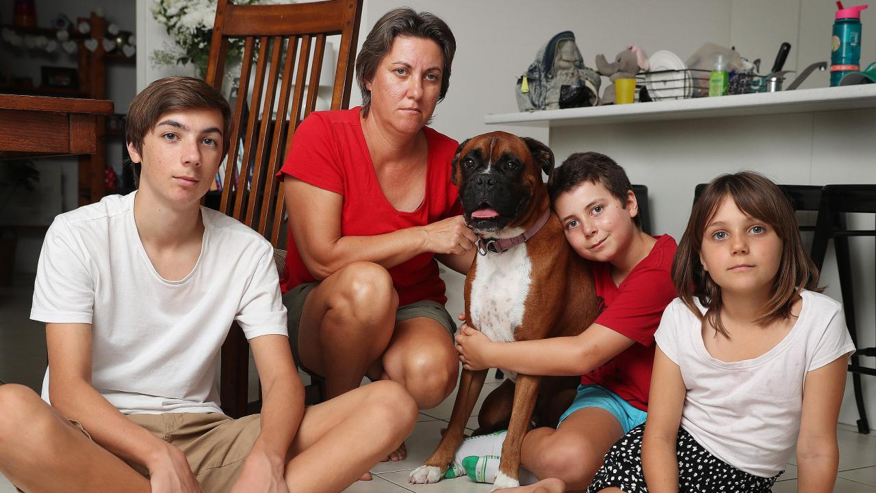 Catherine Frewer, widow of cyclist Cameron Frewer, with their three children Lachlan, Heidi and Oscar, and dog Herbie. Picture: Peter Wallis