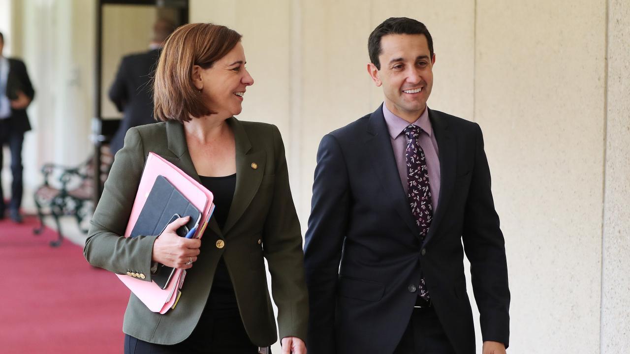 Deb Frecklington and David Crisafulli at parliament. Picture: Peter Wallis
