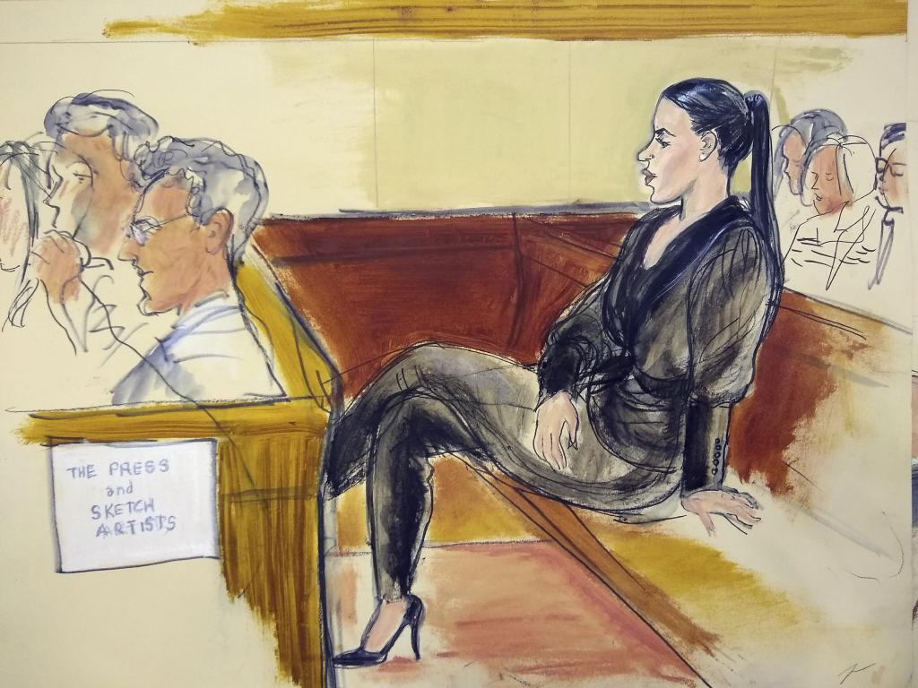 Emma Coronel Aispuro, the wife of El Chapo, sits in  the courtroom. Picture: Elizabeth Williams via AP