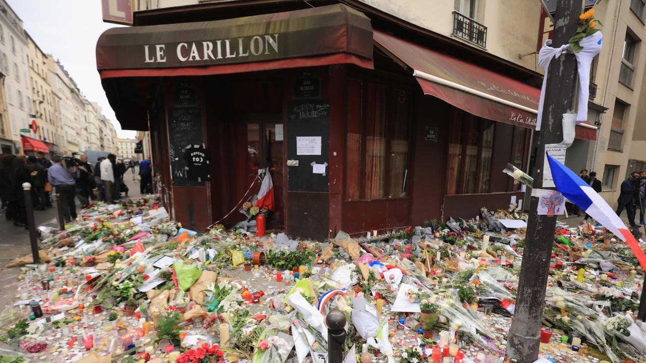 Tributes outside the Le Carillon restaurant.