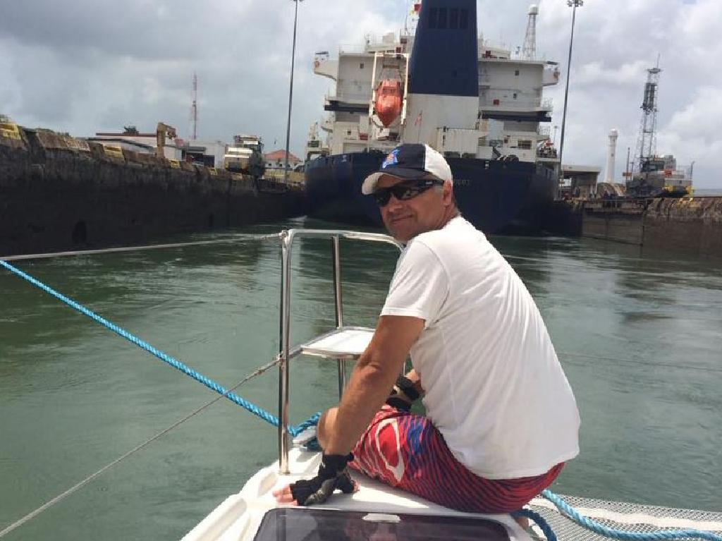 John Nokolic on board his boat Shenanigans in the Panama Canal. Picture Facebook