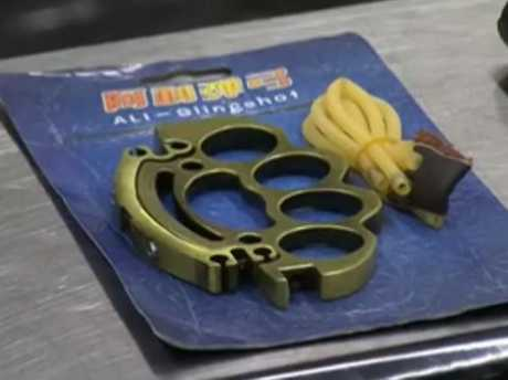 Knuckle dusters seized by ABF officers. Picture: Seven News