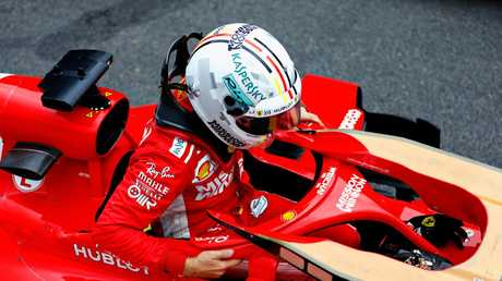 Sebastian Vettel was handed a fine and a reprimand for 'destroying' the weighbridge.