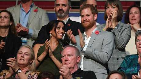 Prince Harry and Meghan during the closing ceremony of the Invictus Games in Sydney.