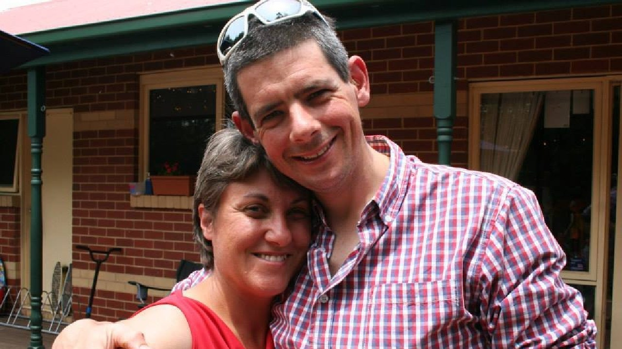 Cameron Frewer is being lovingly remembered by the cycling community for his work in cyclist safety. Pictured with wife, Catherine.