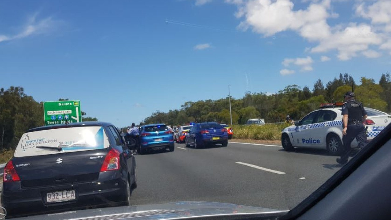 Police stopping motorists on the M1 to arrest the driver and passengers in a stolen vehicle. Photo: Mike Harvey