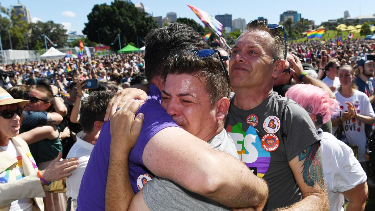An outpouring of joy in Prince Regent Park in Sydney after the yes vote was announced. Picture: David Moir/AAP