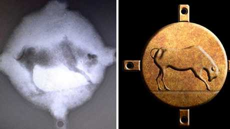An X-ray of the bronze plate found at the Antikythera shipwreck site, left, and a reconstructon of its appearance.