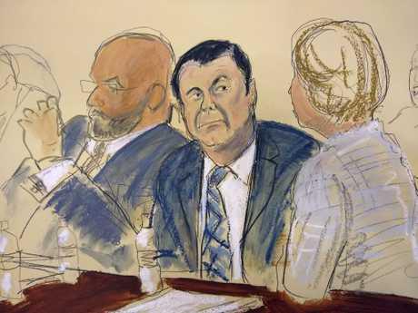 In this courtroom sketch, El Chapo sits next to his defence attorney Eduardo Balazero. Picture: Elizabeth Williams via AP