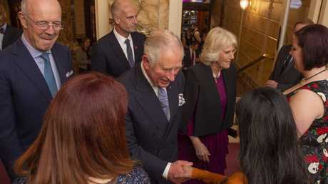 Prince Charles and Camilla meet young Princes' Trust beneficiaries after attending a one off performance of 'We Are Most Amused and Amazed' for his 70th birthday celebrations. Picture: Getty