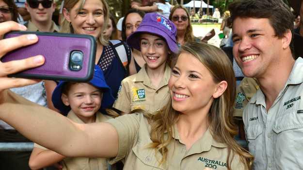 Bindi Irwin and Chandler Powell at Australia Zoo for the Steve Irwin Day celebrations.