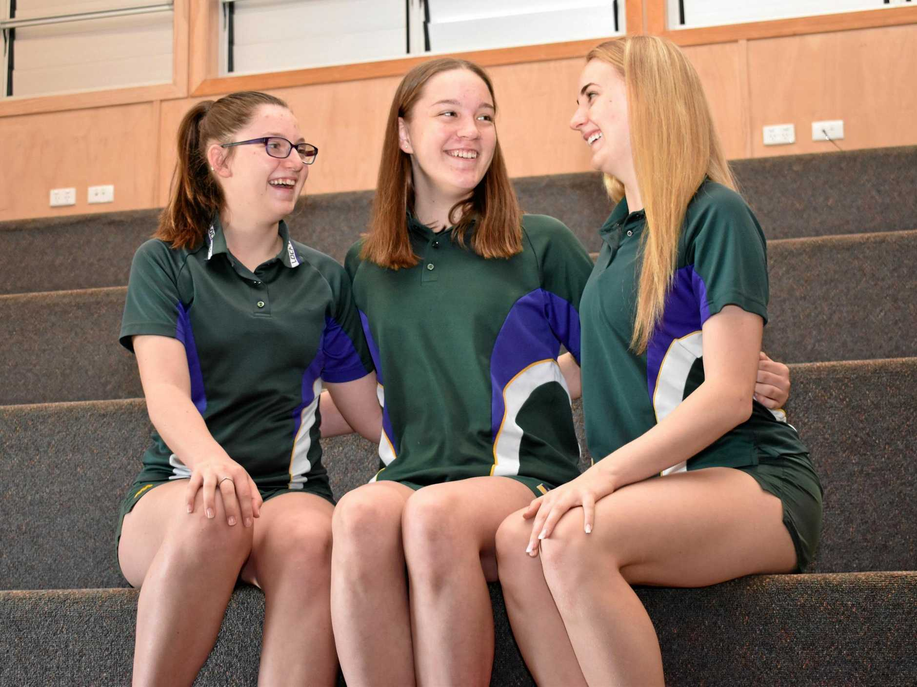 EXCITED: Lockyer District High School students Danielle Burns, Baylee Thrupp and Rebecca O'Brien all secured bursaries through the Empire Theatre Youth Bursary.