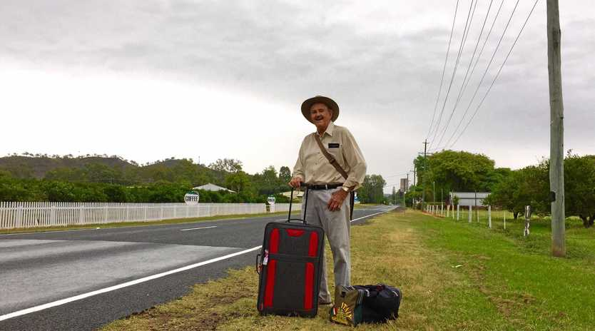 GOING THE DISTANCE: Henry Harman setting off to Cairns by bus to visit his wife, Pat.