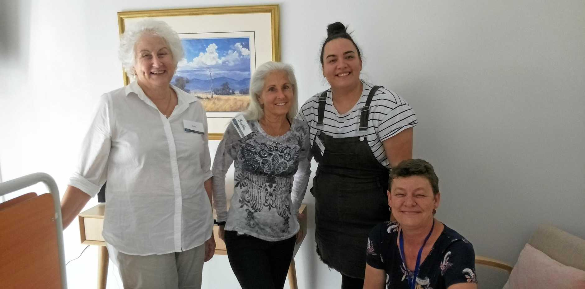 CARE AROUND THE CLOCK: In the Rose Room at Katie Rose Cottage Hospice are (from left) support volunteer Pam Moffatt, personal carer Yvette Lohnes, registered nurse Bec Smith and clinical nurse co-ordinator Claire Perry.