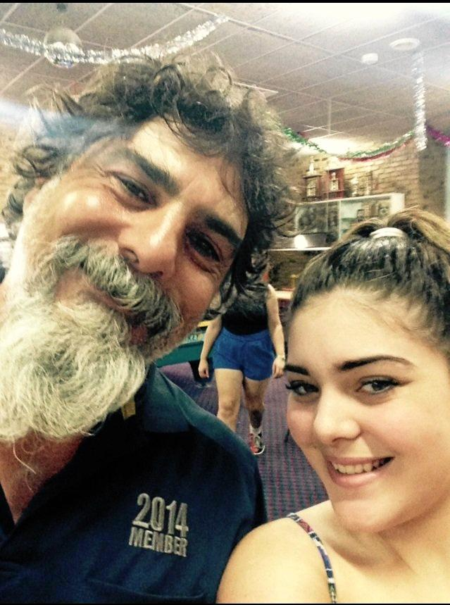 George Exarhos with eldest daughter Maddy, who is trying to raise money so her dad can go to Greece.