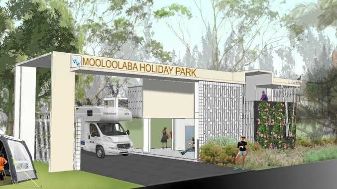 An artist's impression shows designs for redevelopment of the Mooloolaba Beach Holiday Park.