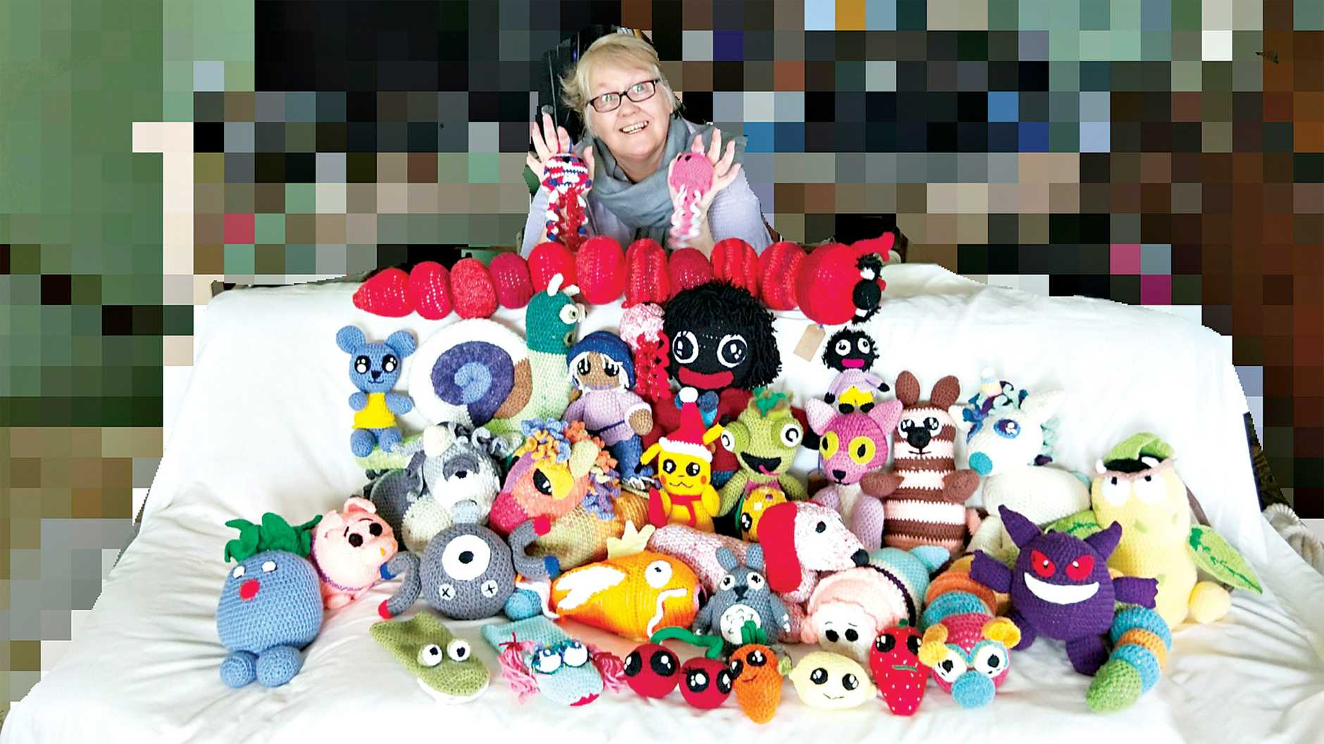 GOOD YARN: Lyn Dilworth will be selling and making crocheted Pokemon and golliwogs at the Hervey Bay Crafter's Christmas Craft Fair.