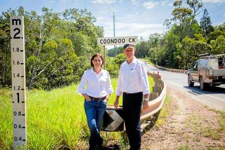 Queensland LNP Deputy Leader Deb Frecklington and Gympie MP Tony Perrett at the Coondoo Creek bridge.