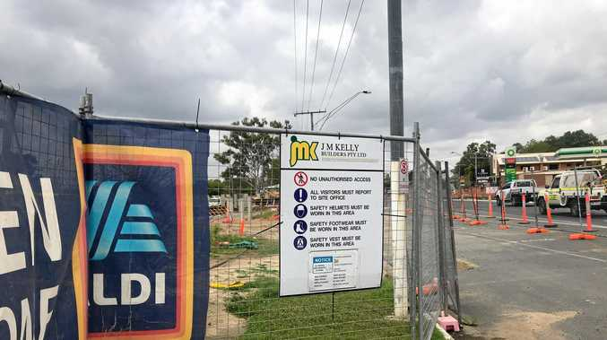 The ALDI construction site was bare today after tradespeople walked off the job after JMK Kelly went into liquidation.