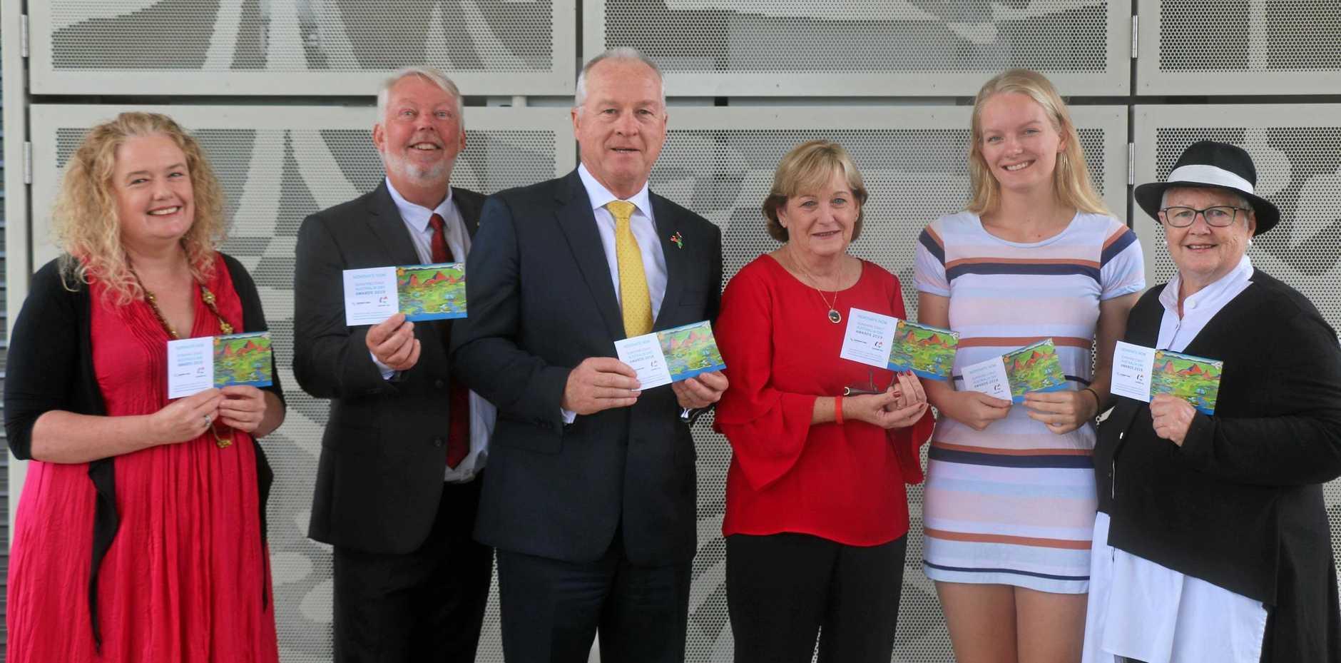 WELL-DESERVED: Mayor Mark Jamieson with 2018 Sunshine Coast Australia Day Award recipients.