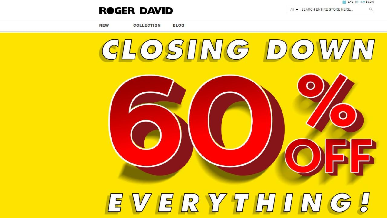 Roger David stores will close within weeks. Picture: rogerdavid.com.au