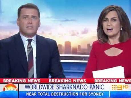Karl and Lisa in Sharknado 5.
