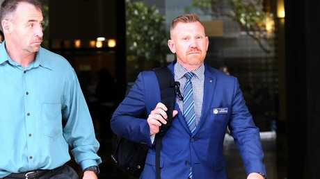 Policeman Luke Warburton (right) was shot in the leg at Nepean Hospital. Picture: Toby Zerna
