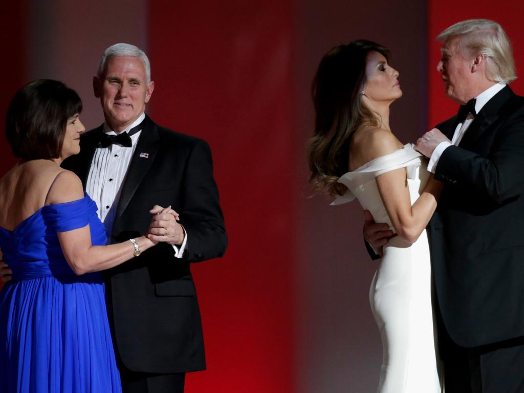 Vice President Mike Pence and President Donald Trump with their wives at the Liberty Inaugural Ball on January 20, 2017 in Washington, DC. Picture: Getty