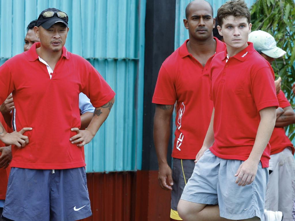 Scott Rush (right) in a 2008 prison tennis match with ringleaders Andrew Chan and Myuran Sukumaran when all three were on death row.