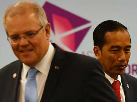 Australia's Prime Minister Scott Morrison and Indonesia's President Joko Widodo at a the ASEAN Summit in Singapore on Wednesday. Picture: AAP