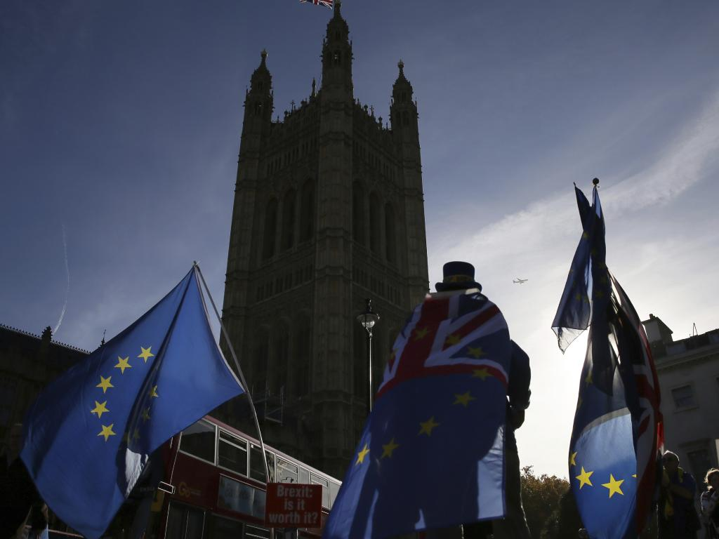 Demonstrators hold flags outside the Houses of Parliament. Picture: AP