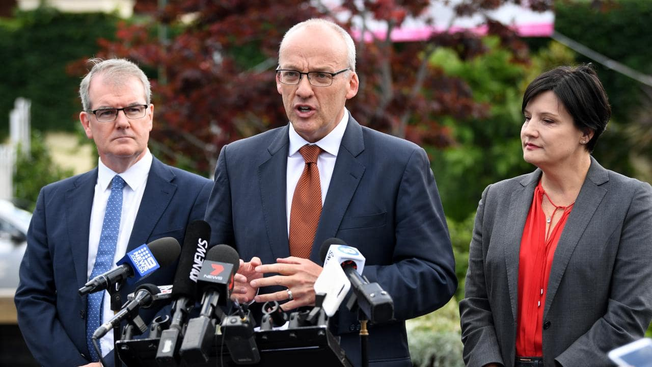 Just a week ago, the then Opposition leader was addressing the media outside a railway station with Michael Daley (left, now leader) and Member for Strathfield Jodi McKay.