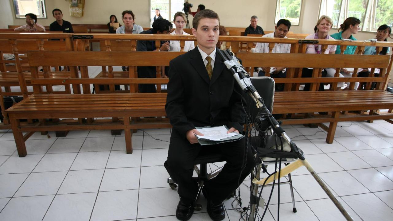 Scott Rush, above on trial in Bali in 2006, spent six years on Indonesia's death penalty list. Picture: Lukman S.Bintoro.
