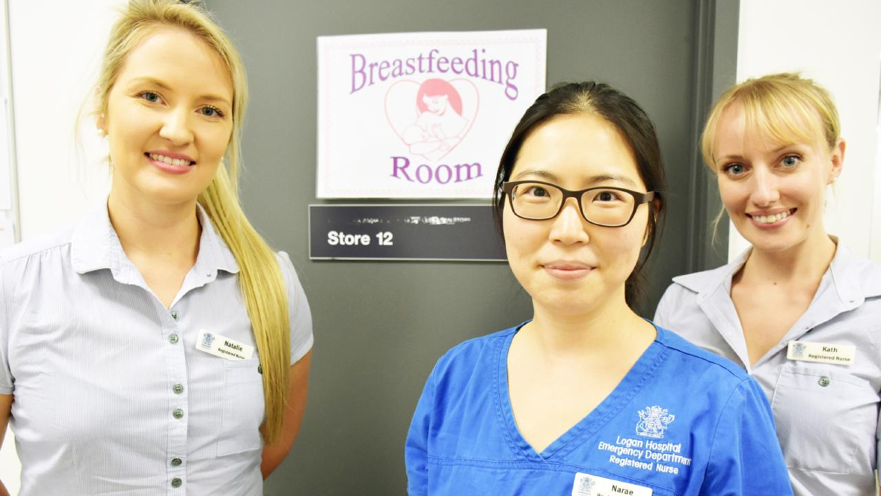 Emergency nurses Natalie Rowan, Narae Lee and Kath Crome have all used the room.
