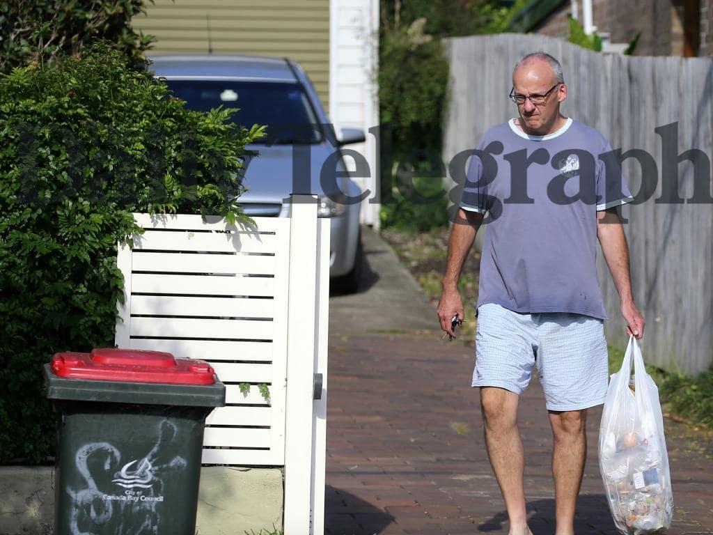 Bin day at the Foley residence on Thursday. Picture: John Grainger
