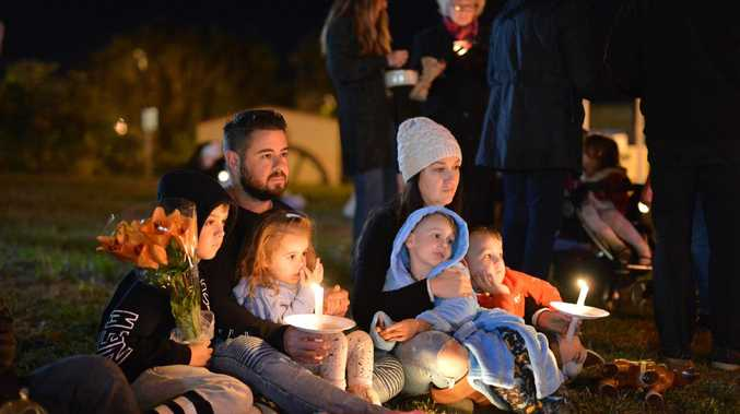 Community members gathered for a candlelight vigil in Nambour the night of the accident.
