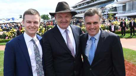 Ben and David Hayes and Tom Dabernig won the trainers' award at the Melbourne Cup carnival. Picture: AAP