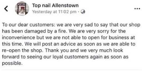 Owners of Top- Nail Allenstown issued this apology on its Facebook page after the fire.