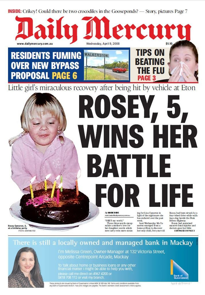 The front page of the Mackay Daily Mercury that ran at the time of Rosey's accident in 2008.