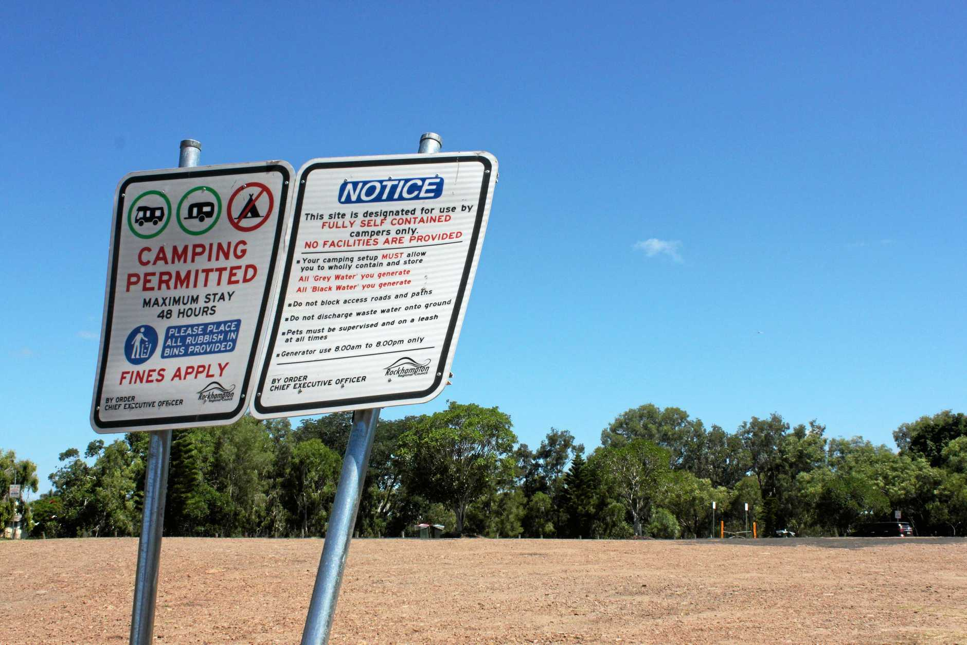 The free camping area at Kershaw Gardens was empty yesterday after Rockhampton caravan park owners took legal action through Caravan Association Queensland against Rockhampton Regional Council to cease the operation.