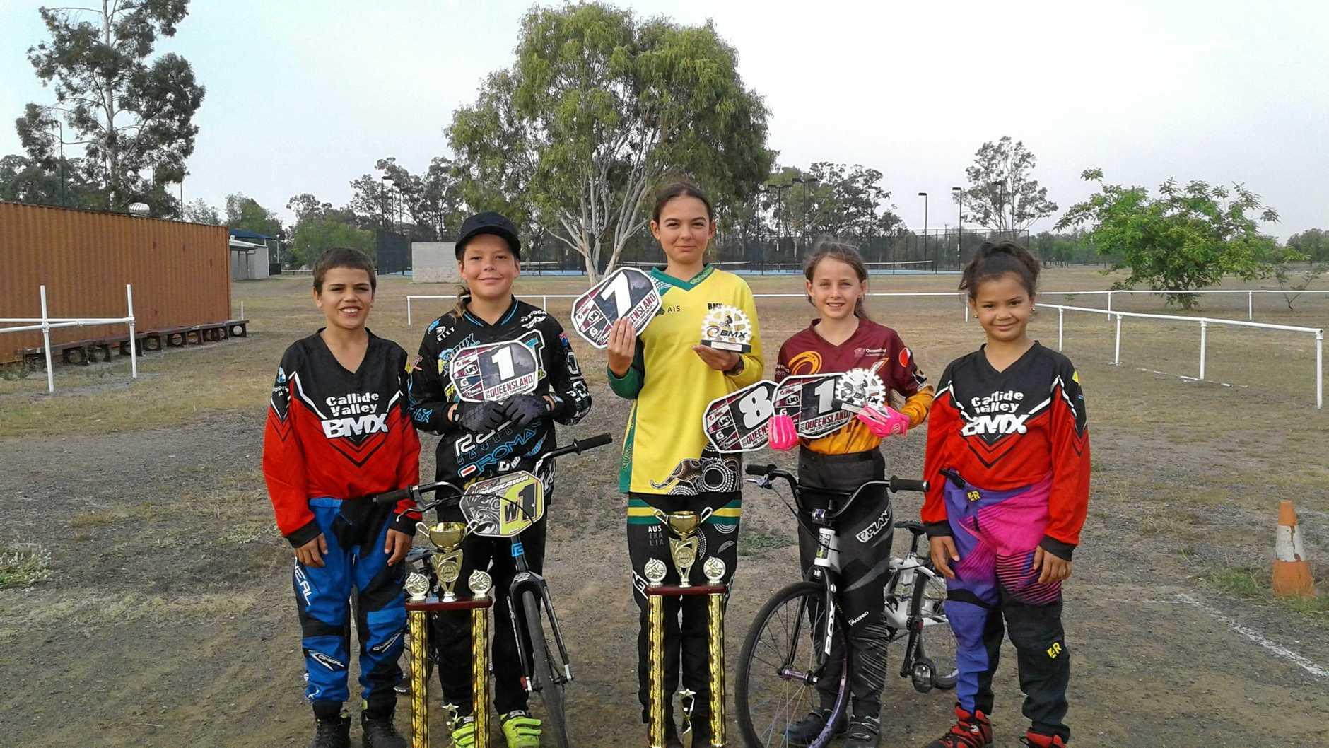 RACING AHEAD: Tama Kororiko, Tama Onekawa, Te Mahia Onekawa, Abby Stevens and Awhena Kororiko from Biloela BMX.